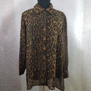 Resource Leopard Button Down Top Size: 20